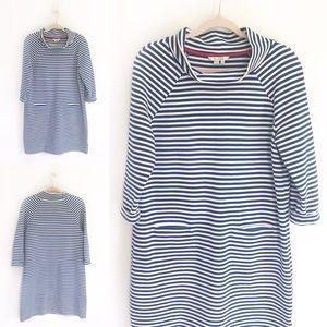 Boden Blue & White Stripe Mock Neck Dress
